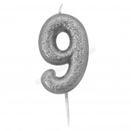 '9' Silver Glitter Candle with Pick