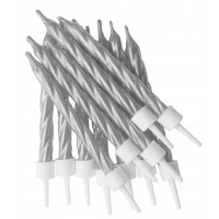 Metallic Silver Spiral Candles with Holders - Pack of 12