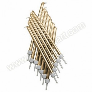 Tall Metallic Gold Candles with Holders - 12 Pack