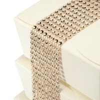 Rose Quartz Diamante Effect 8 Row Band - 1.5mtr