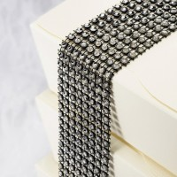 Black & Silver Diamante Effect 8 Row Band 1.5mtr