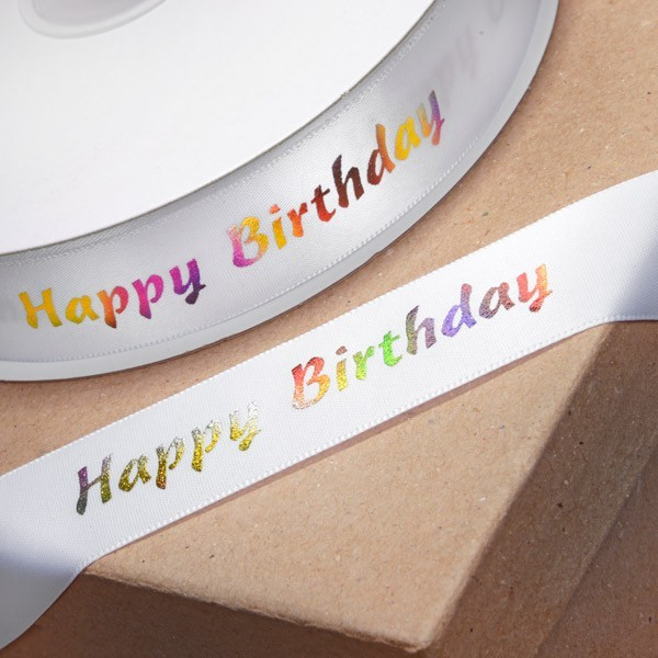 Happy Birthday - White Ribbon with Multi Coloured Writing - 1m