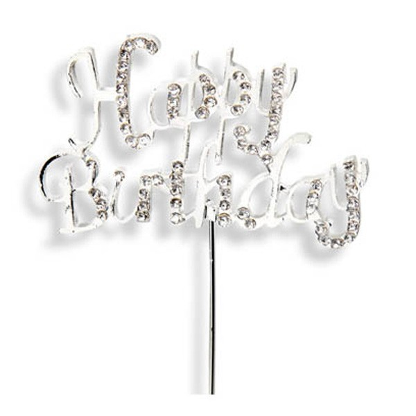 Silver Happy Birthday Diamante Cake Topper