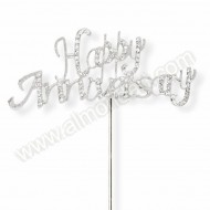 Silver Happy Anniversary Diamante Cake Topper
