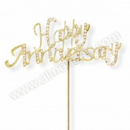 Gold Happy Anniversary Diamante Cake Topper