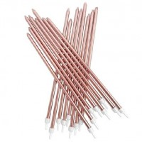 Extra Tall Metallic Rose Gold Candles with Holders - 16 Pack