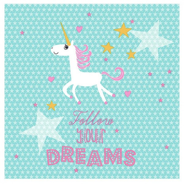 "Unicorn ""Follow Your Dreams"" Napkins - 20pk - 3ply"