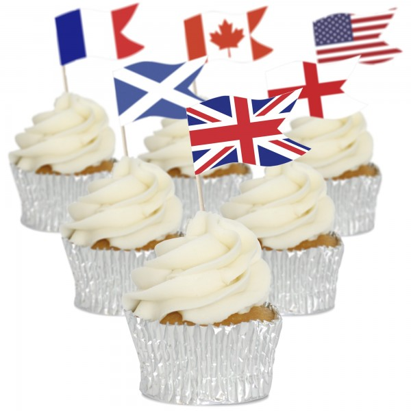 Country Flag Cupcake Toppers - Pack of 12
