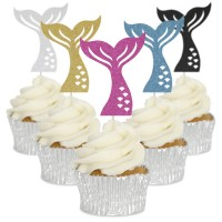 Mermaid Tail Cupcake Toppers - 6pk