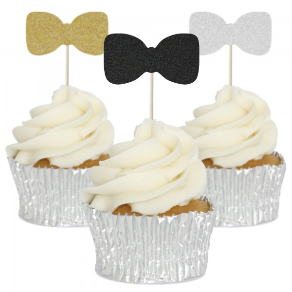 Bow Tie Cupcake Toppers - 12pk
