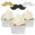 Moustache Cupcake Toppers - 12pk