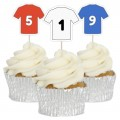 Football Shirt Cupcake Toppers - 12pk