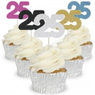 Number 25 Cupcake Toppers - 12pk