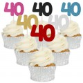 Number 40 Cupcake Toppers - 12pk