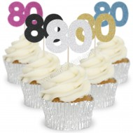 Number 80 Cupcake Toppers - 12pk