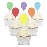 Multi Coloured Balloon Cupcake Toppers - 12pk
