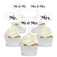 Mr & Mrs Wedding Cupcake Toppers - 12pk