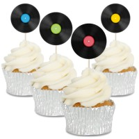 Vinyl Record Cupcake Toppers - 12pk