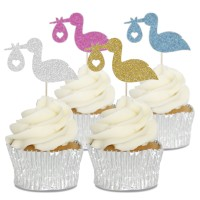Stork & Baby Cupcake Toppers - 12pk
