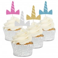 Unicorn Horn Cupcake Toppers - 6pk