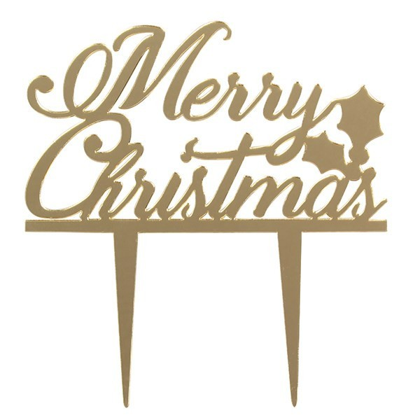 "Large Gold "" Merry Christmas"" Motto Topper"