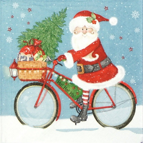 Santa on a Bike Christmas Napkins - 20pk / 33cm
