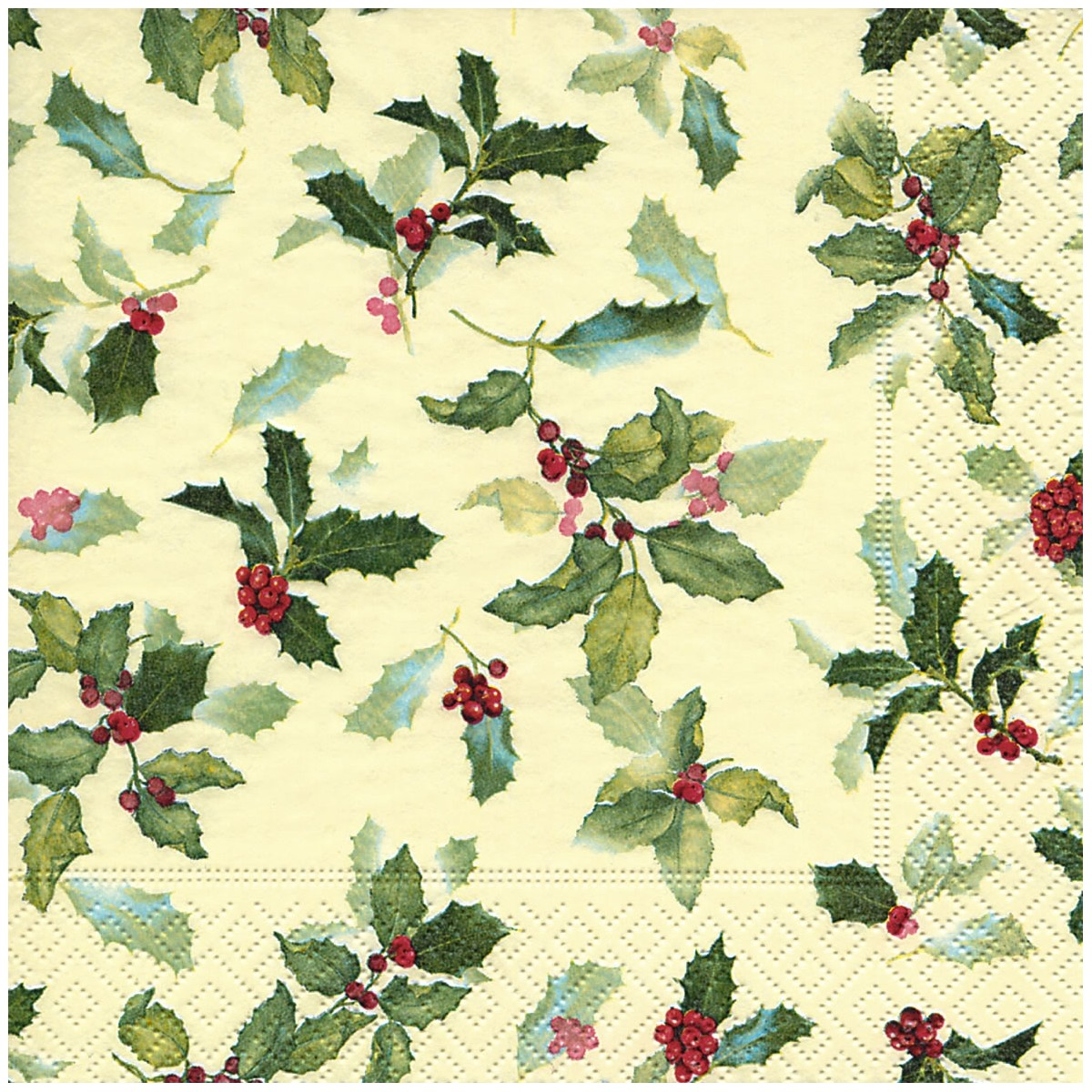 Christmas Napkins.Classic Ilex Holly Christmas Napkins 20pk 33cm