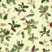 Classic Ilex (Holly) Christmas Napkins - 20pk / 33cm