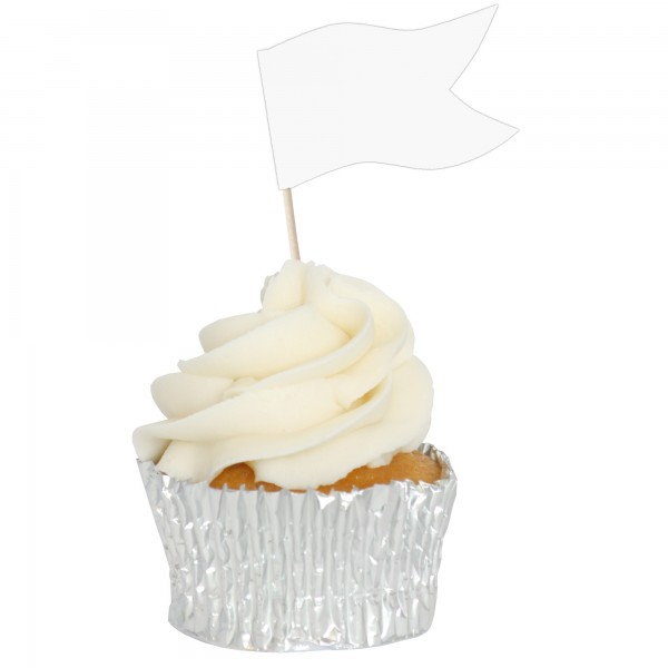 White Customizable Sandwich Flag Cupcake Toppers - 12pk