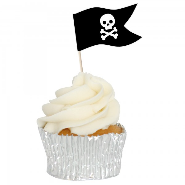 Pirate Sandwich Flag Cupcake Toppers - 12pk