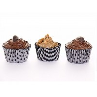 Muffin  Cases - Vogue Silver & Black Design - 60pk