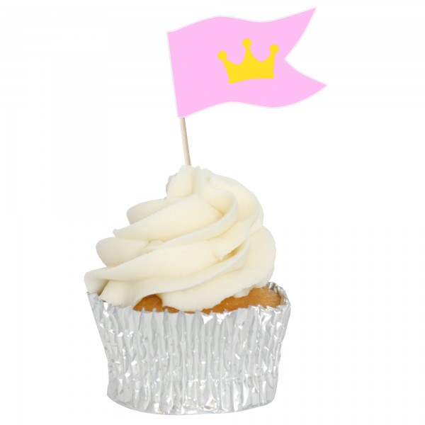 Princess Sandwich Flag Cupcake Toppers - 12pk