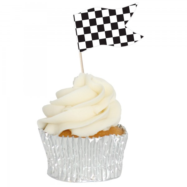Checkered Sandwich Flag Cupcake Toppers - 12pk