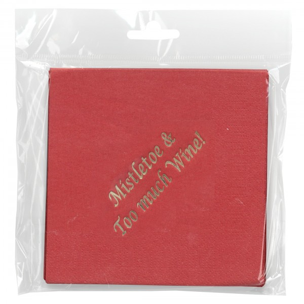 Mistletoe & Too Much Wine Cocktail Napkin 15/pk