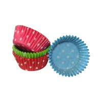 Multi-Coloured Polka Dot Mini Muffin Cases - 100pk