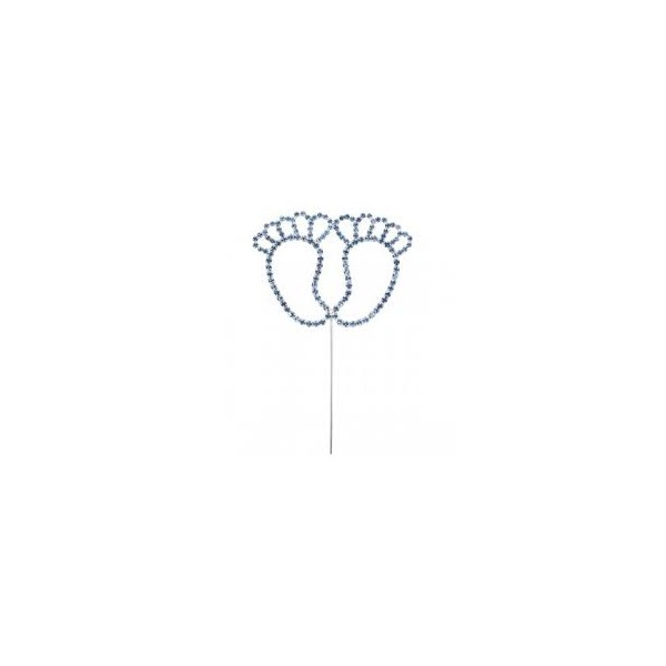 Blue Diamante Baby Feet on stem 75x55mm