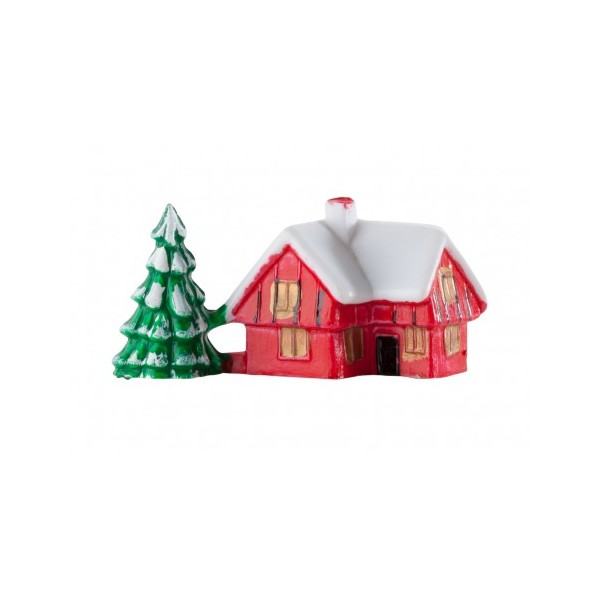 Snowy House with Tree Christmas Cake Decoration