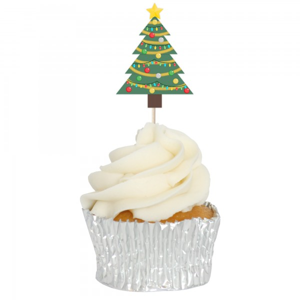 Decorated Xmas Tree Cupcake Toppers - 12pk