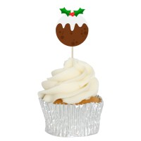 Xmas Pudding Cupcake Toppers - 12pk