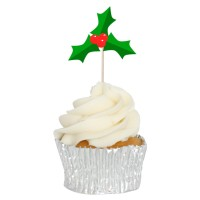 Festive Holly Cupcake Toppers - 12pk