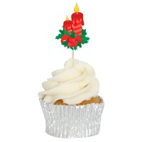 Christmas Candle Cupcake Toppers - 12pk