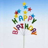 Multi Coloured Happy Birthday Star Spray