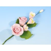 Pink Rose with Apple Blossom - med