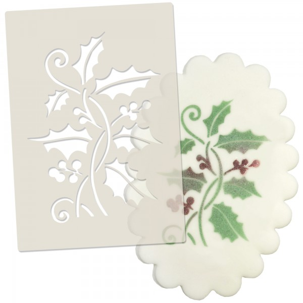 Holly & Berries Christmas Stencil