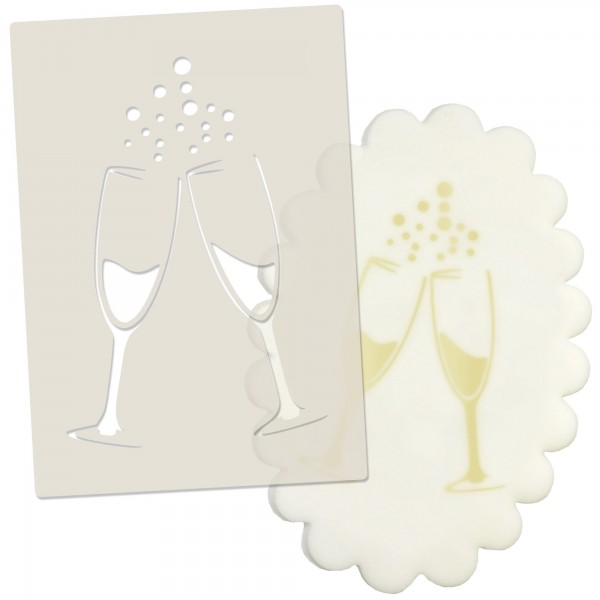 Champagne Glasses Celebration Stencil