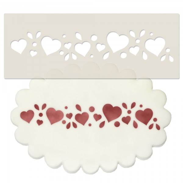Hearts Design Border Stencil