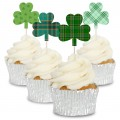 Assorted Pattern Shamrock Cupcake Topper - 12pk
