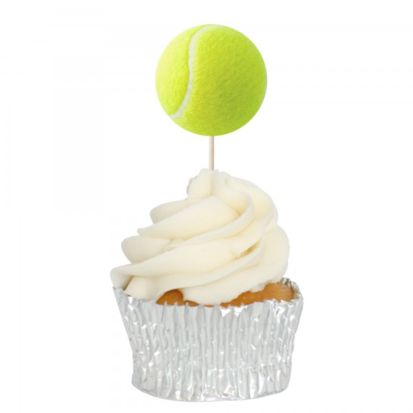 Tennis Ball Cupcake Toppers - 12Pk