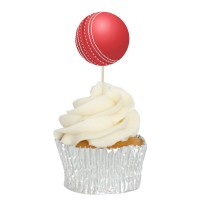 Cricket Ball Cupcake Toppers - 12Pk