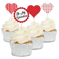 Be My Valentine Cupcake Toppers - 12Pk